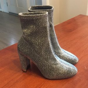 MK silver metallic ankle high high heel go go boot